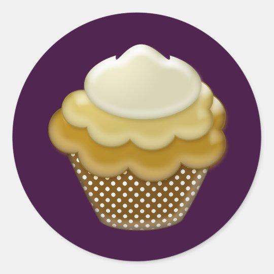 yummy coffee cupcake classic round sticker