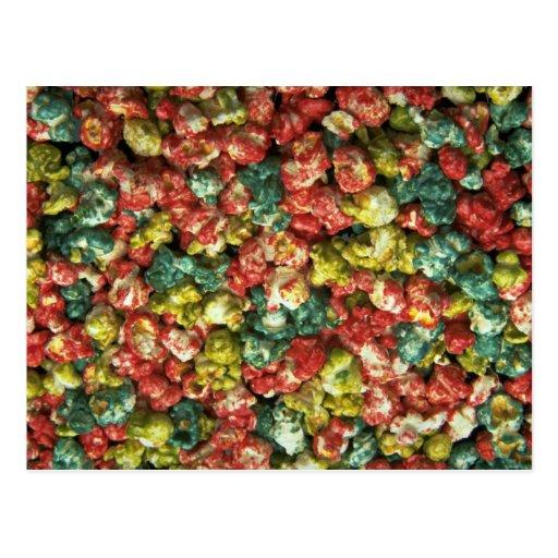 Yummy Colored popcorn Postcard