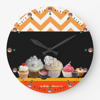 YUMMY COLORFUL CUPCAKES DESERT SHOP Orange Chevron Large Clock