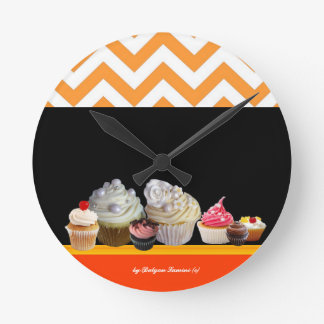 YUMMY COLORFUL CUPCAKES DESERT SHOP Orange Chevron Round Clock