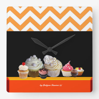 YUMMY COLORFUL CUPCAKES DESERT SHOP Orange Chevron Square Wall Clock