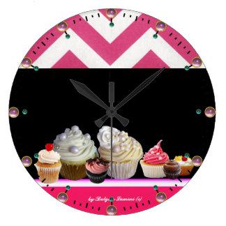 YUMMY COLORFUL CUPCAKES DESERT SHOP Pink Chevron Large Clock