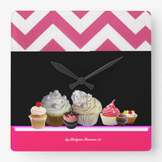 YUMMY COLORFUL CUPCAKES DESERT SHOP Pink Chevron Square Wall Clock