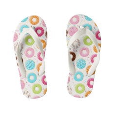 Yummy Colorful Sprinkles Donuts Toppings Pattern Kid's Flip Flops at Zazzle