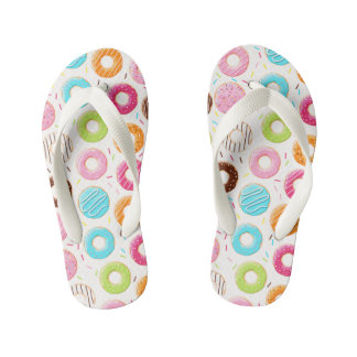 Yummy colorful sprinkles donuts toppings pattern kid's flip flops
