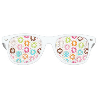 Yummy colorful sprinkles donuts toppings pattern retro sunglasses