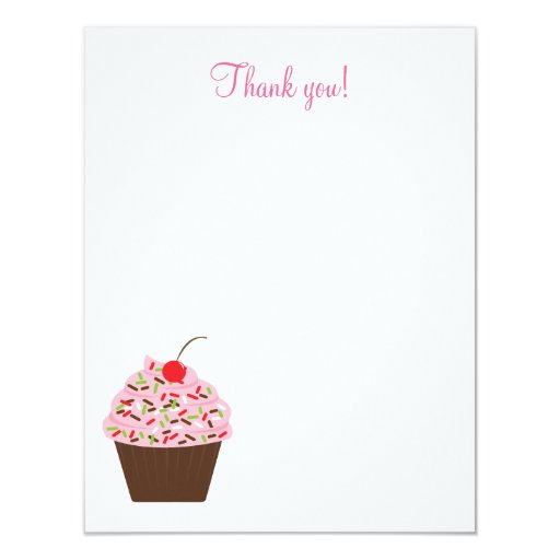 Yummy Cupcake 4x5 Flat Thank you note Card