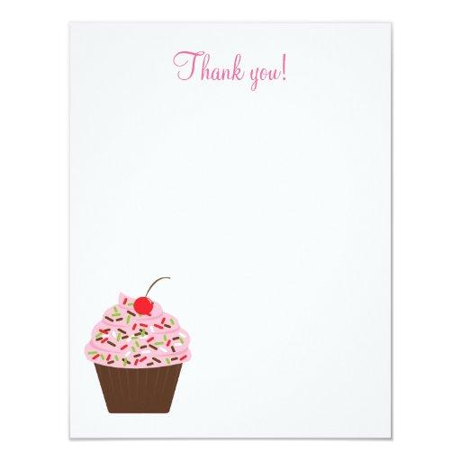 Yummy Cupcake 4x5 Flat Thank you note Card