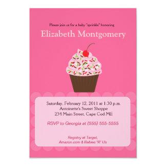 Yummy Cupcake Baby Shower Sprinkle 5x7 Custom Invitation