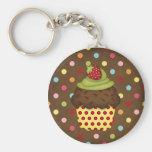 yummy cupcake basic round button keychain