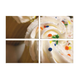 Yummy cupcake close up photo quad canvas