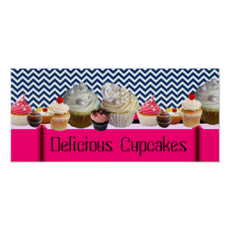 YUMMY CUPCAKES DESERT SHOP/ BLUE WHITE CHEVRON POSTER