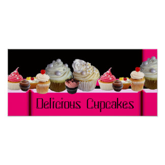 YUMMY CUPCAKES DESERT SHOP/ PINK BLACK WHITE POSTER
