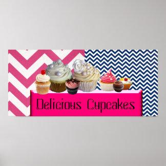 YUMMY CUPCAKES DESERT SHOP/PINK BLUE WHITE CHEVRON POSTER