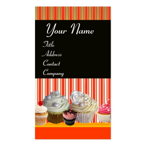 YUMMY CUPCAKES DESERT SHOP WHITE RED STRIPES BUSINESS CARD TEMPLATE (front side)