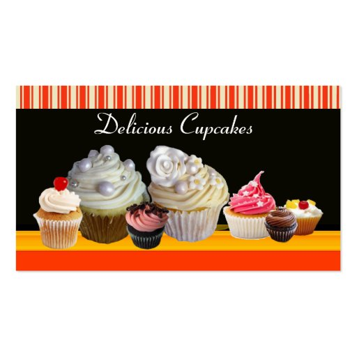 YUMMY CUPCAKES DESERT SHOP WHITE RED STRIPES BUSINESS CARD TEMPLATE (back side)