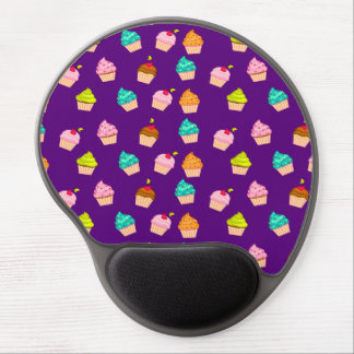 Yummy Cute Cupcakes On Purple Gel Mouse Mats