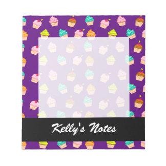 Yummy Cute Cupcakes On Purple Notepad