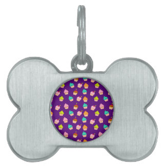 Yummy Cute Cupcakes On Purple Pet Tag