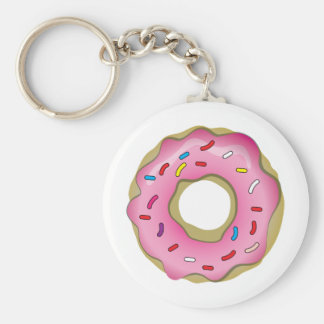 Yummy Donut with Icing and Sprinkles Basic Round Button Keychain