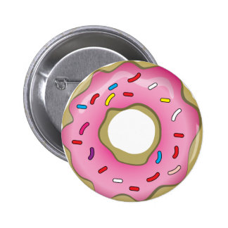 Yummy Donut with Icing and Sprinkles Button