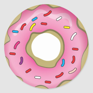 Yummy Donut with Icing and Sprinkles Classic Round Sticker