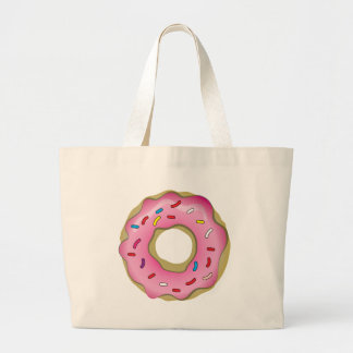 Yummy Donut with Icing and Sprinkles Large Tote Bag
