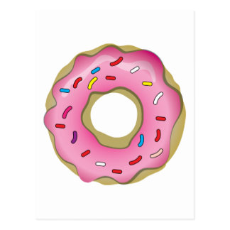 Yummy Donut with Icing and Sprinkles Postcard