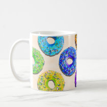 donut, funny, humor, pattern, cool, sweet, candy, bakery, fun, dessert, funny pattern, colorful, humorous, donut pattern, mug, Caneca com design gráfico personalizado