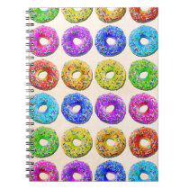 Yummy donuts pattern spiral notebook