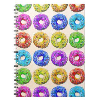 Yummy donuts pattern spiral notebook