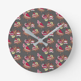 Yummy doodle cupcake pattern. round clock