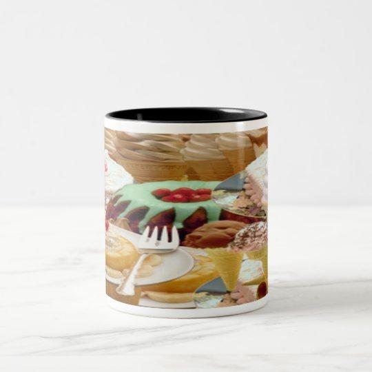 Yummy Elegant Delicious Deserts Bake Goods Two-Tone Coffee Mug