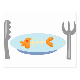 Yummy Food - Fish on a Plate Postcard