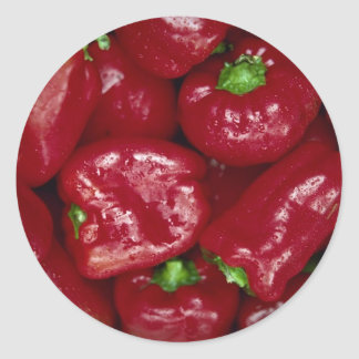Yummy Fresh red peppers Classic Round Sticker