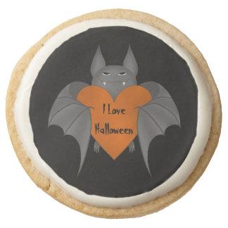 Yummy Halloween bat Round Shortbread Cookie