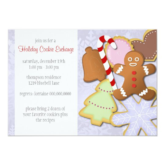 Yummy Holiday Cookie Exchange Invitation - blue