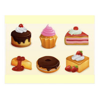 yummy icon set postcard