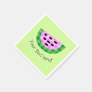 Yummy Neon Plaid Watermelon Slice Icon Napkin
