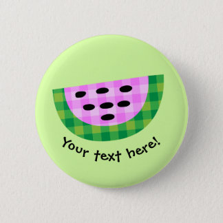 Yummy Neon Plaid Watermelon Slice Icon Pinback Button