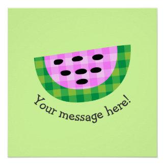 Yummy Neon Plaid Watermelon Slice Icon Poster