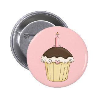 Yummy Pink Brown Cupcake Strawberry Chocolate Pin