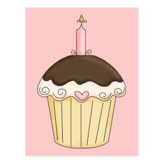 Yummy Pink & Brown Cupcake Strawberry Chocolate Postcard