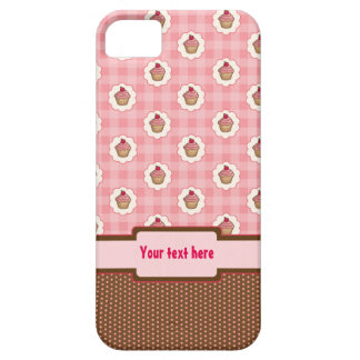 Yummy pink cupcakes on gingham background iPhone SE/5/5s case