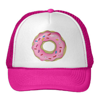 Yummy Pink Donut with Icing and Sprinkles Trucker Hat