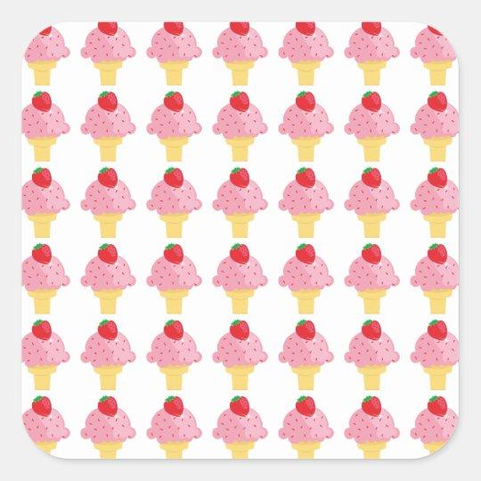 Yummy Strawberry Ice Cream Cone Stickers