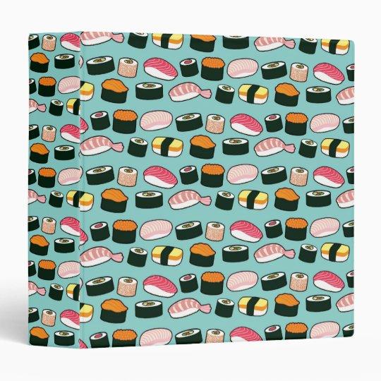 Yummy Sushi Fun Illustrated Pattern 3 Ring Binder