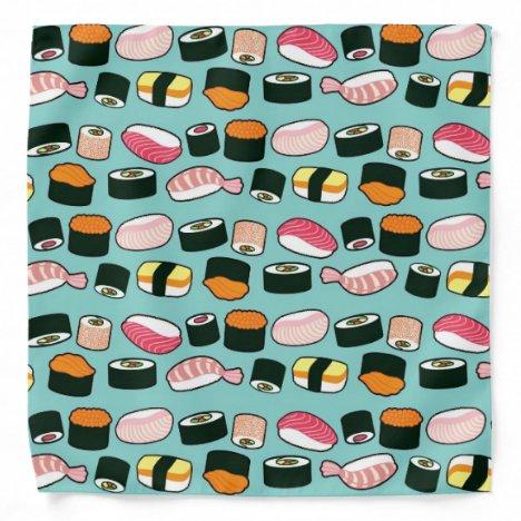 Yummy Sushi Fun Illustrated Pattern Bandana