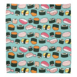 Yummy Sushi Fun Illustrated Pattern Bandana at Zazzle