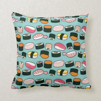 Yummy Sushi Fun Illustrated Pattern Throw Pillow